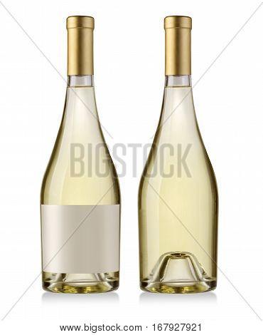 white wine bottle isolated on white background wiyh clipping path