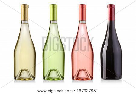 set of white and red wine bottles set isolated on white