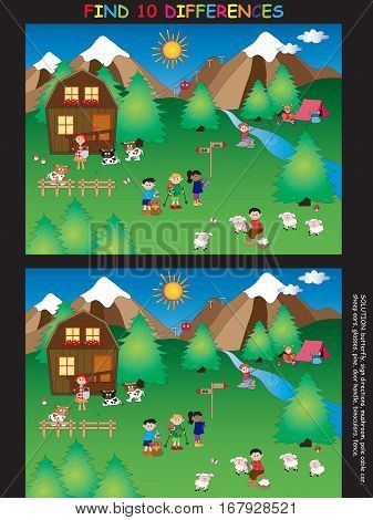 game for children: find ten differences in mountain landscape