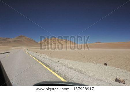 Car view of the arid Atacama desert