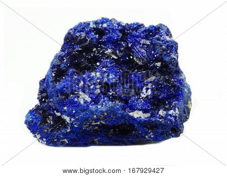 azurite semiprecious geological blue mineral crystal isolated