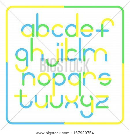 Set of rounded style alphabet letters. Stock vector font type design. Modern bold lettering icons. stylized logo text typesetting. contemporary typography template