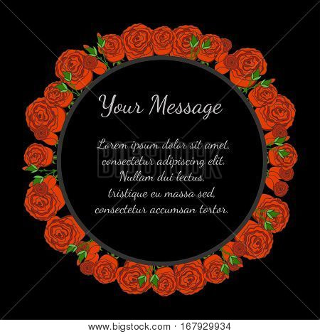 Funeral frame with red roses. Mourning illustration with flowers. Black background.
