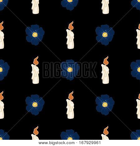 Seamless pattern with funeral flowers and candle. Mourning dark background.