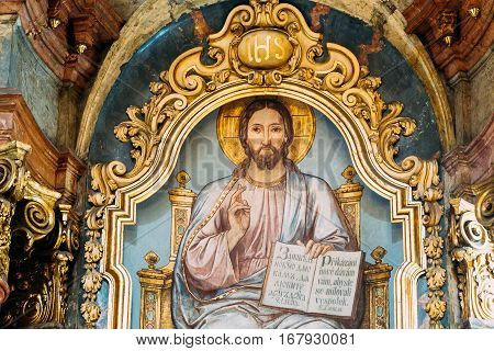 Prague, Czech Republic - October 8, 2014: Interior Of Baroque Church Of St. Nicholas - Old Town Square In Prague, Czech Republic. The fresco depicting Jesus with an open book.