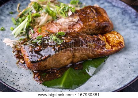 Salmon Teriyaki on Plate