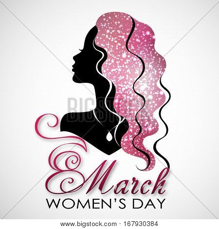 Women's Day. Vector Greeting Card with Woman Silhouette. The 8th of March for your design