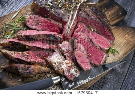 Barbecue Wagu T-Bone Steak on Cutting Board