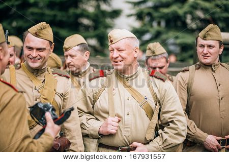 Gomel, Belarus - May 9, 2015: Group Of Russian Soviet Armed Soldiers, Reenactors During Celebrating Victory Day 9 May.