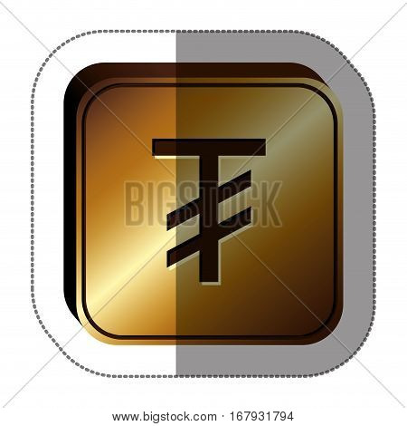sticker golden square with currency symbol of tugrik mongol vector illustration