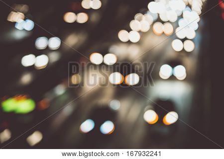 Traffic lights on the street. Blurred urban concept