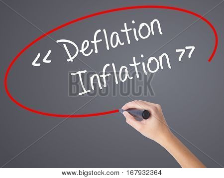 Woman Hand Writing Deflation - Inflation With Black Marker On Visual Screen.