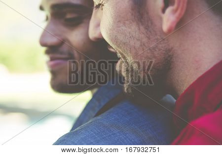 Happy gay couple spending time together. Close up portrait