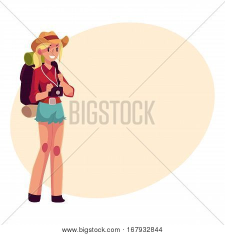 Young pretty girl travelling, hitchhiking with backpack and camera, cartoon on background with place for text. Female backpacker, hitchhiker in cowboy hat and shorts with backpack and camera