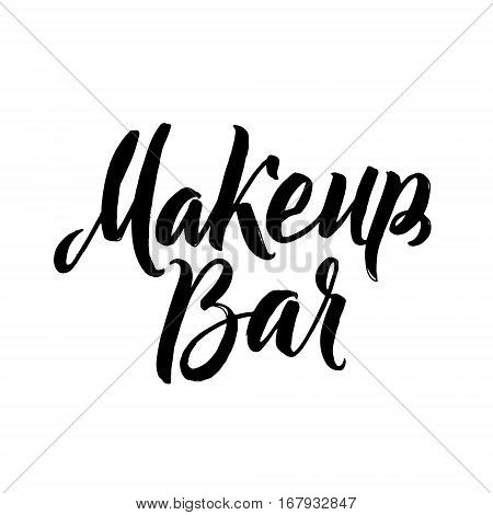 Makeup Bar Typography Square Poster. Vector lettering. Calligraphy phrase for gift cards, scrapbooking, beauty blogs. Typography art