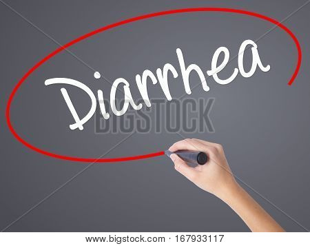 Woman Hand Writing  Diarrhea  With Black Marker On Visual Screen