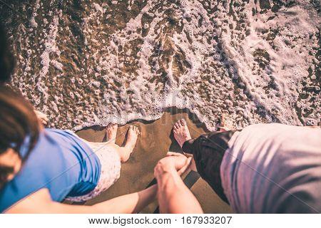 Happy couple spending time in Santa monica