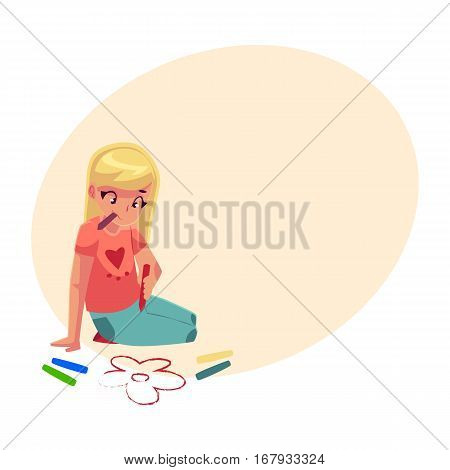Little girl sitting on the floor and drawing flowers with colorful crayons, cartoon vector on background with place for text. Pretty little girl drawing with crayons sitting on the floor