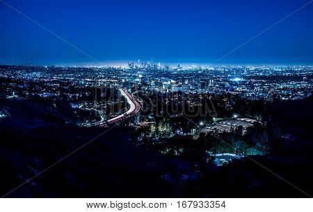 Los angeles aerial view with blue cold tone