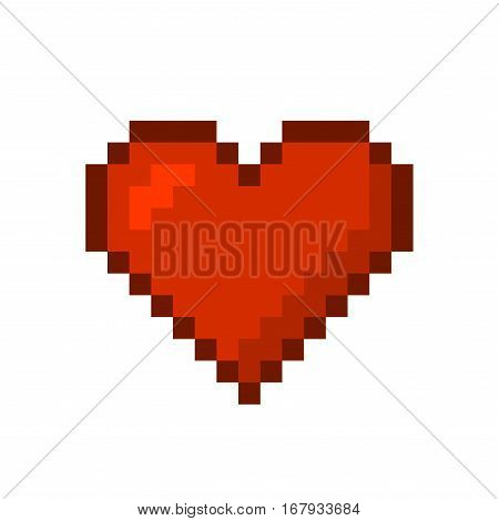 Red Heart. Pixel Art Style. Vector illustration