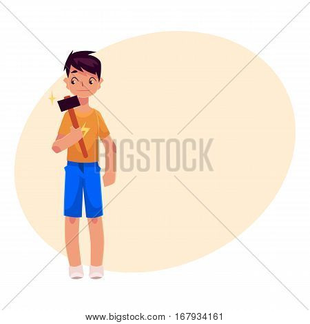Teenage boy in shorts and t-shirt holding a hammer, cartoon vector on background with place for text. Full length portrait of boy holding hammer, repair concept