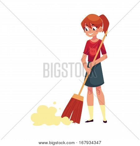 Teenage girl helping to clean the house, sweeping floor with broom, cartoon vector illustration isolated on white background. Girl cleaning home with a long broom