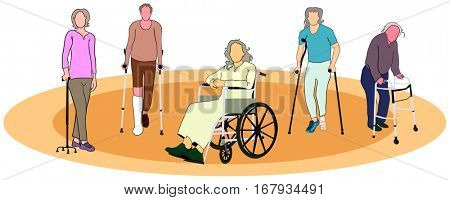 Group of people old men women with mobility aids tools wheelchair forearm crutches quad cane conceptual healthcare image together support elderly awareness concept vector