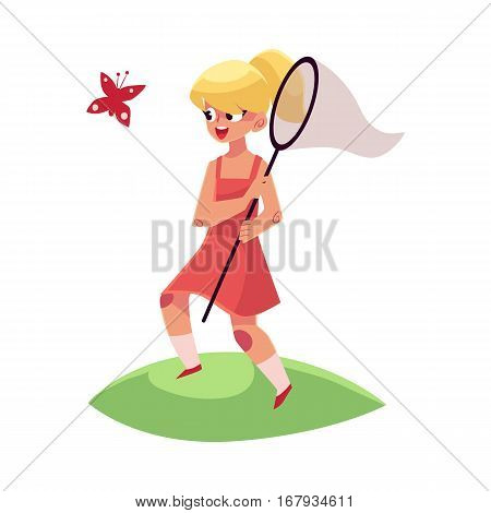 Pretty little girl catching butterfly with a net, summer vacation concept, cartoon vector illustration isolated on white background. Full length portrait of little girl with a butterfly net
