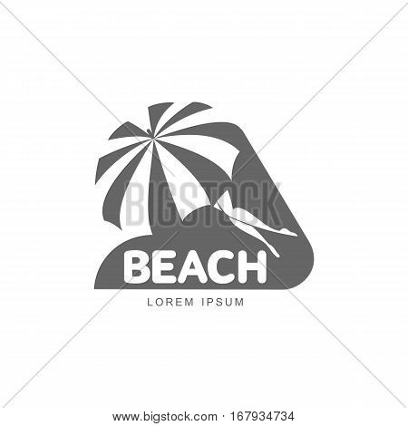 Logo template with beach umbrella and woman lying in its shade, vector illustration isolated on white background. Black and white graphic logo template with beach umbrella and slim woman legs