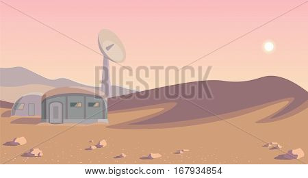 Space colonization panorama. Colony on other planet. Rounded lineart. Mars. vector illustration background