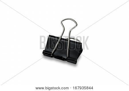 Black binder clip isolated with white background. paper clip on white background