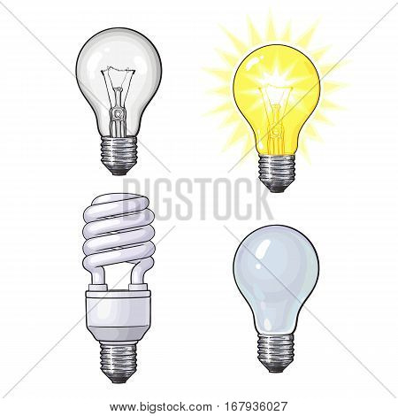 Set of transparent, opaque, glowing and energy saving spiral electric bulb, sketch style vector illustration isolated on white background. Realistic hand drawing of round and spiral light bulbs