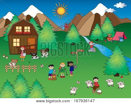 illustration of mountain landscape with happy people