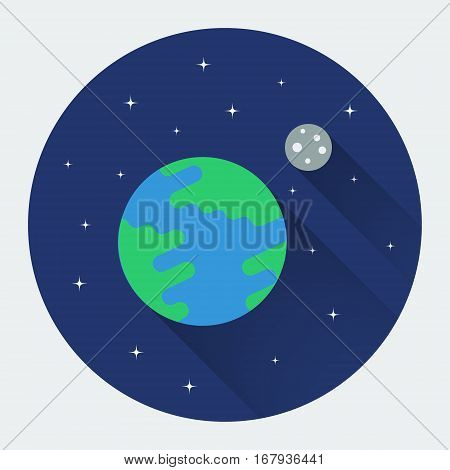 Earth and Moon in space. Modern flat icon with long shadow. Colored vector illustration.