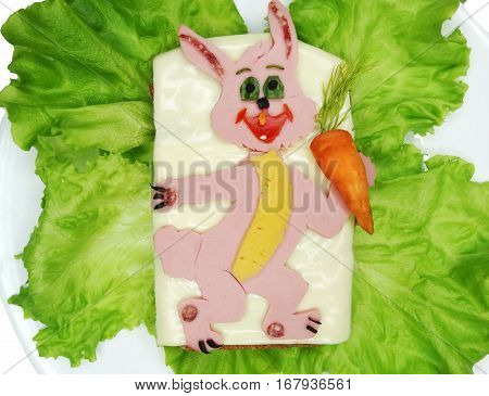 creative sandwich with cheese and salame hare shape