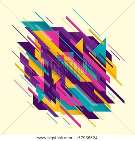 Abstract style composition in color, made of various sharp geometric shapes and objects. Vector illustration.