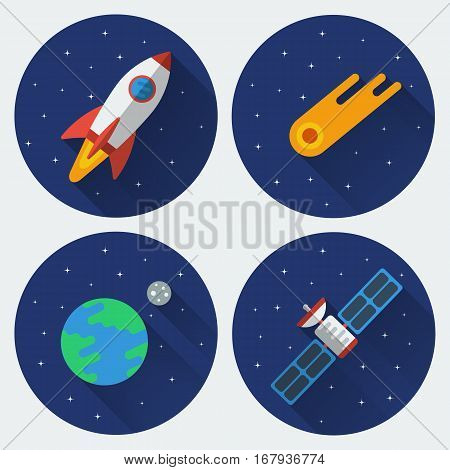 Space icons with long shadow. Rocket, comet, satellite, the Earth with the Moon. Colored illustrations. Vector set in flat style.