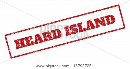 Red rubber seal stamp with Heard Island text. Vector tag inside rectangular shape. Grunge design and unclean texture for watermark labels. Inclined sign.