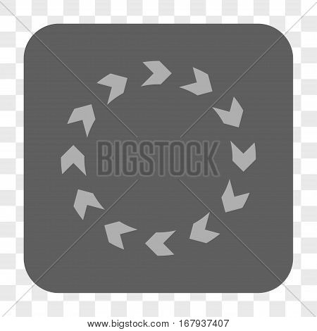 Circulation interface toolbar button. Vector icon style is a flat symbol on a rounded square button, light gray and gray colors, chess transparent background.
