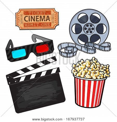 Cinema, movie objects - popcorn bucket, film roll, ticket, clapper board and 3d glasses, cartoon vector illustration isolated on white background. Set of cinema, movies symbols, icons, objects