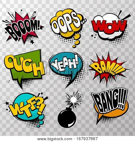 Collection colored effects template comic speech bubbles halftone dot background style pop art. Comic dialog bang, boom, wow, bam, yeah. Creative idea conversation comic sketch explosion