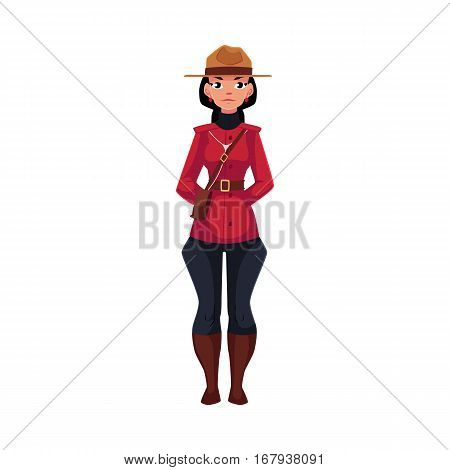 Canadian female policeman in traditional uniform - scarlet tunic and breeches, cartoon vector illustration isolated on white background. Full length portrait of Canadian mounted female policemen