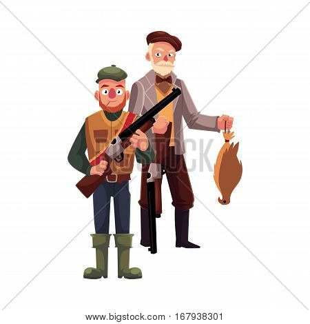 Two hunters, one modern, another old fashioned gentleman with falcon, cartoon vector illustration isolated on white background. Full length portrait of two typical hunters, in tweed jacket and in vest