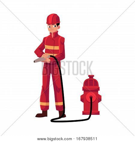 Firefighter, fireman in red protective suit holding fire hose at hydrant, cartoon vector illustration isolated on white background. Full length portrait of firefighter, fireman holding fire hose
