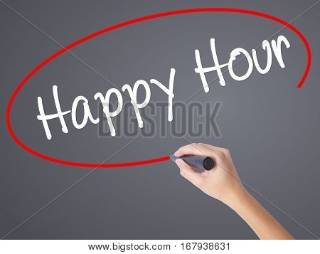 Woman Hand Writing Happy Hour With Black Marker On Visual Screen