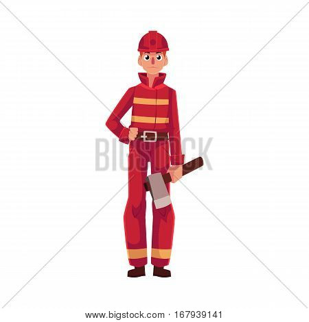 Firefighter, fireman in red protective suit holding axe in hand, cartoon vector illustration isolated on white background. Full length portrait of firefighter, fireman holding axe
