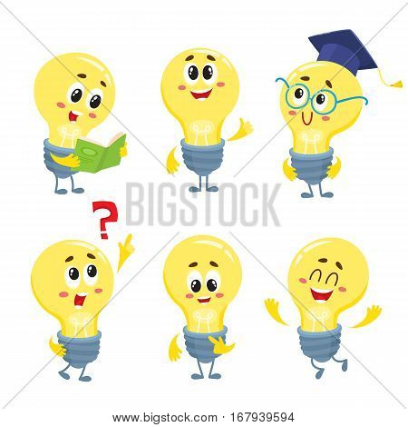 Cute and funny light bulb character, symbol of problem solving and new ideas, cartoon vector illustration isolated on white background. Set of funny light bulb characters in different positions