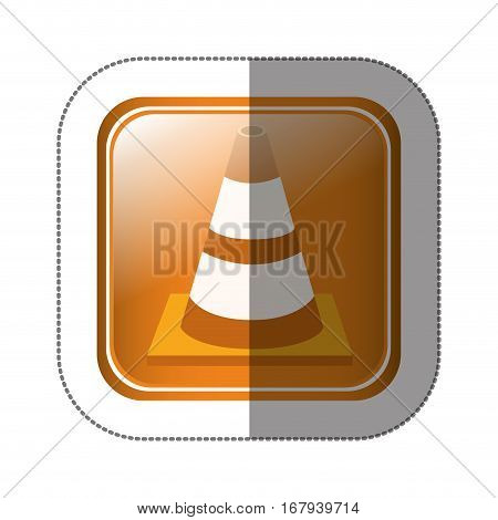 sticker square button with striped traffic cone with shading vector illustration