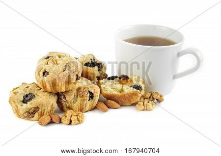 Mini Stolle With Tea Cup On A White Background