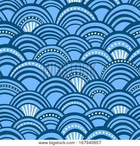 Seamless vector pattern with blue stylized scales